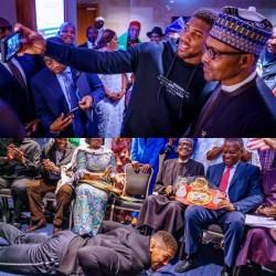 President Buhari celebrates Anthony Joshua's defeat of Pulev