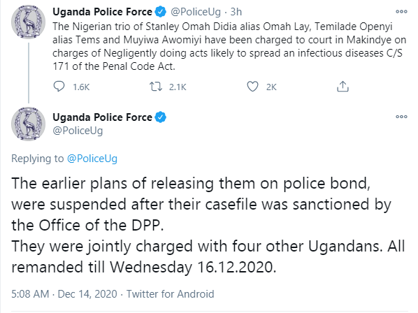 Plans of Omah Lay and Tems being released on Ugandan police bond suspended after their case file was sanctioned by the Office of the DPP