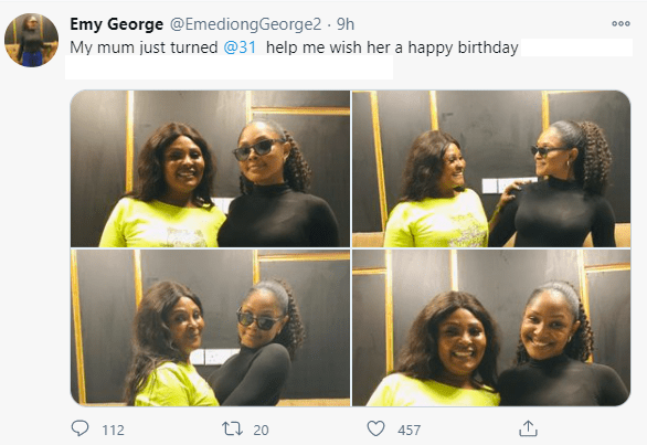 Confusion as lady wishes mum happy 31st birthday