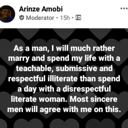 """Nigerian lawyer's obvious truth: """"I will much rather marry a teachable, submissive illiterate than spend a day with a disrespectful literate woman"""""""
