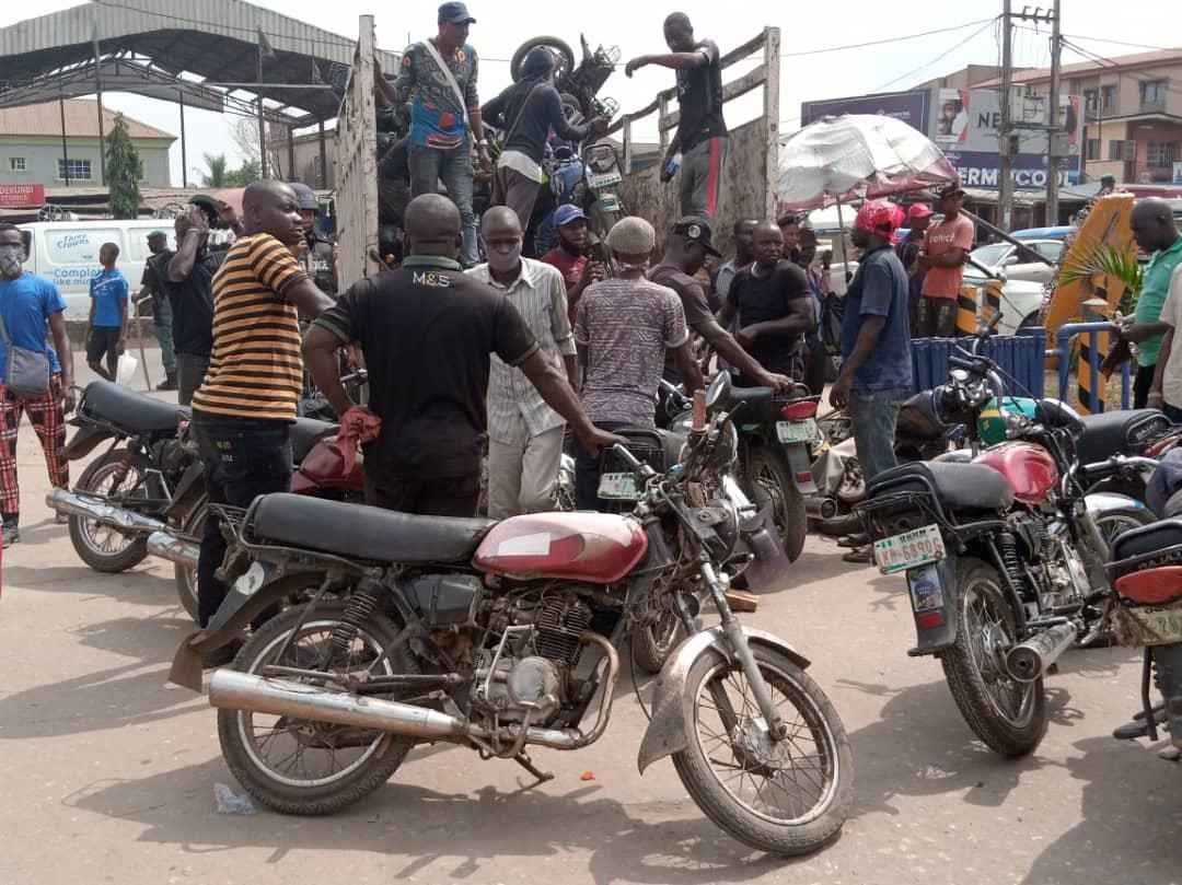 Lagos Taskforce impounds 130 motorcycles operating in restricted areas, arrest 5 motorists for driving against traffic