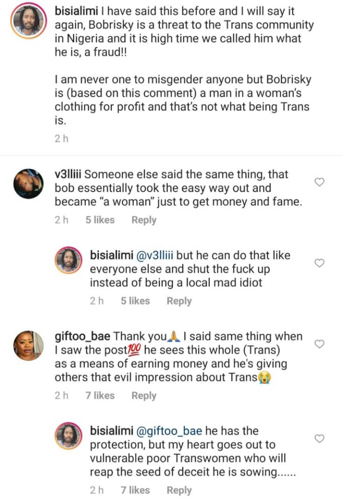 """""""He is a fraud""""- Bisi Alimi attacks Bobrisky, says he is a threat to Trans community in Nigeria"""
