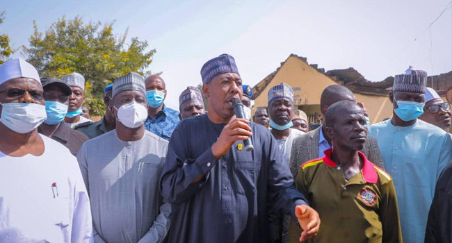 Governor Zulum visits villages where Boko Haram killed three and destroyed schools last weekend