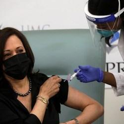 U.S. Vice-President-Elect, Kamala Harris gets her first live TV dose of Moderna's COVID-19 vaccine (Photos)