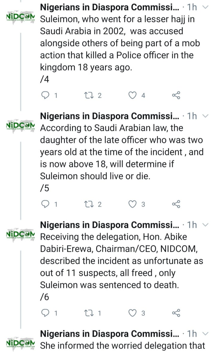 Family of Nigerian man sentenced to death in Saudi Arabia for murder of police officer appeals for clemency
