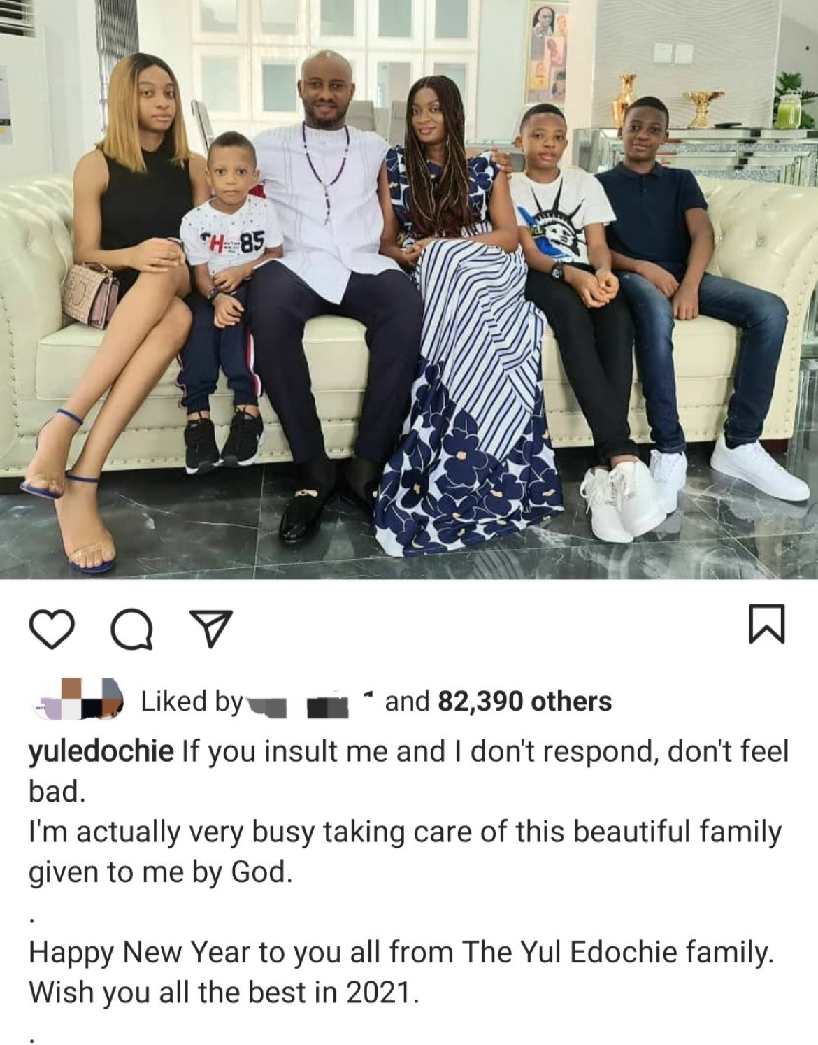 Yul Edochie shows off his family and explains they are the reason he has no time for trolls