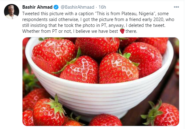 """President aide Bashir Ahmad reacts after being called out for """"wrongly passing off"""" photo of strawberries as those from Plateau state"""