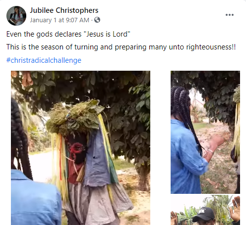 Nigerian lady coverts masquerader to Christianity, makes him remove his masquerade costume (videos)
