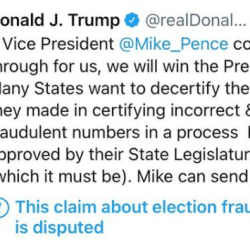 Mike Pence tells Trump that he won't overturn Biden's victory