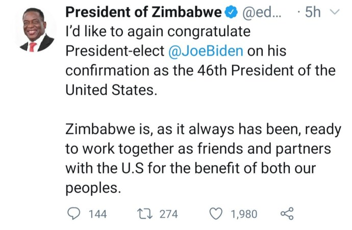 """5ff75e849046e """"The U.S. has no moral right to punish another nation under the guise of upholding democracy"""" Zimbabwe President Emmerson Dambudzo Mnangagwa reacts to violence in US"""