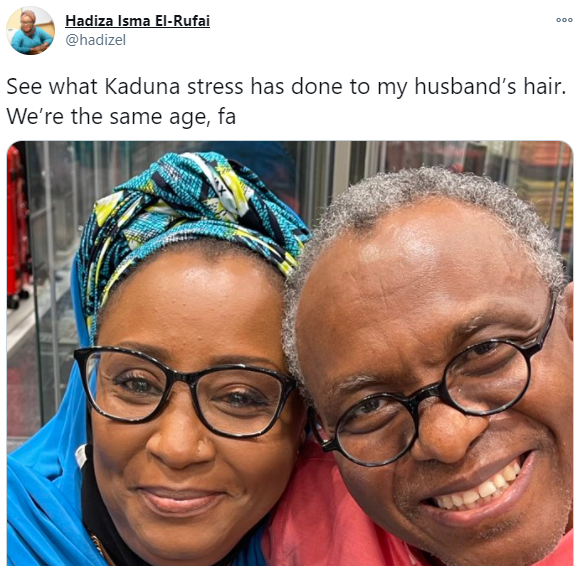 Wife of Kaduna state governor, Nasir El-Rufai shares photo revealing what the stress from the state has done to her hubby