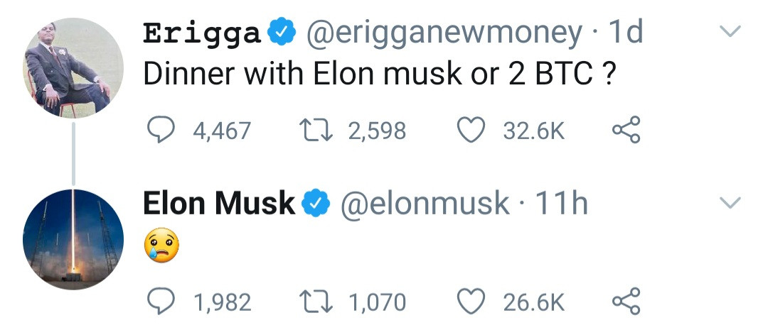 Elon Musk reacts as Nigerian singer Erigga asks fans to choose between dinner with Musk and 2 Bitcoins