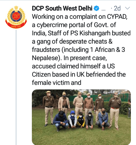 Nigerian man arrested in India for duping woman by posing as US citizen on a dating app
