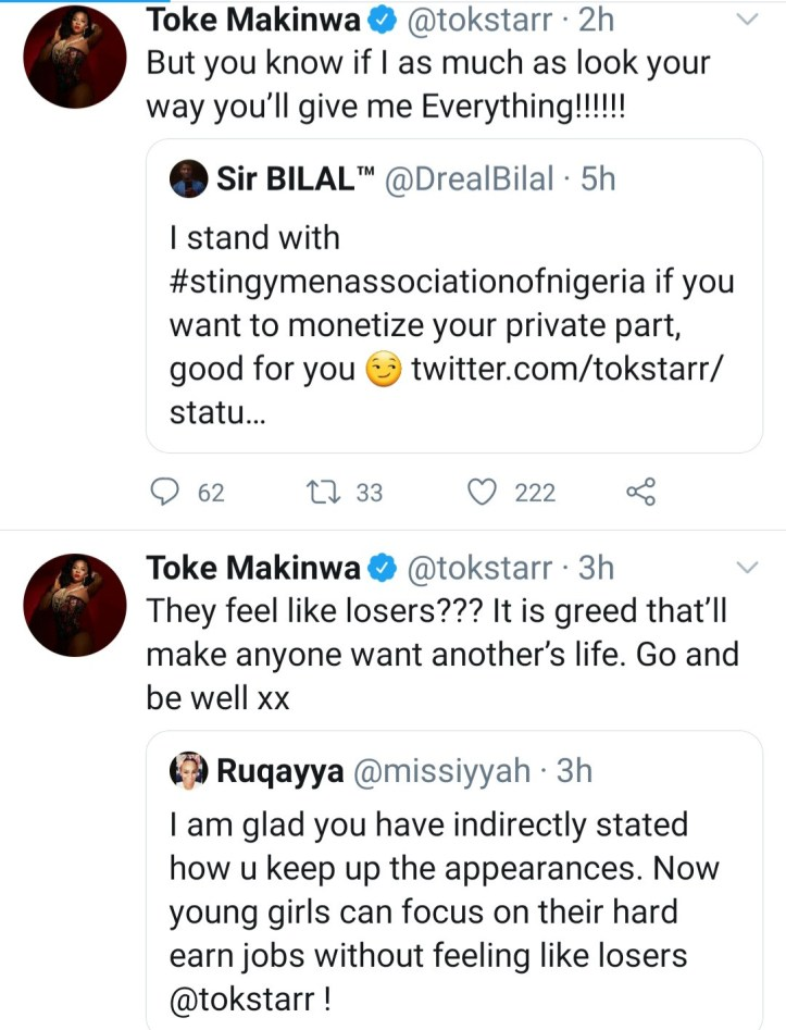 Toke Makinwa reacts as Twitter users slam her for equating money from men to sex from women