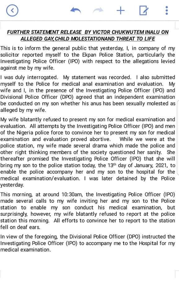 Man accused by wife of molesting their 9-month-old son and threatening her life releases a statement addressing the allegations
