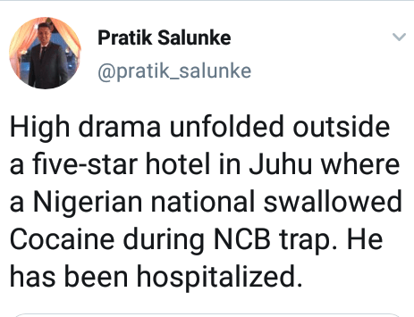 Drama as Nigerian man swallows Cocaine during drug raid in India