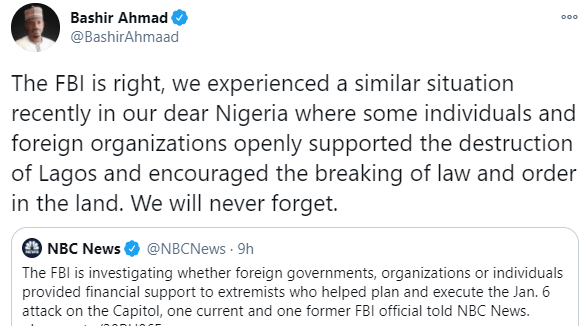 Presidential aide, Bashir Ahmad, reacts to FBI