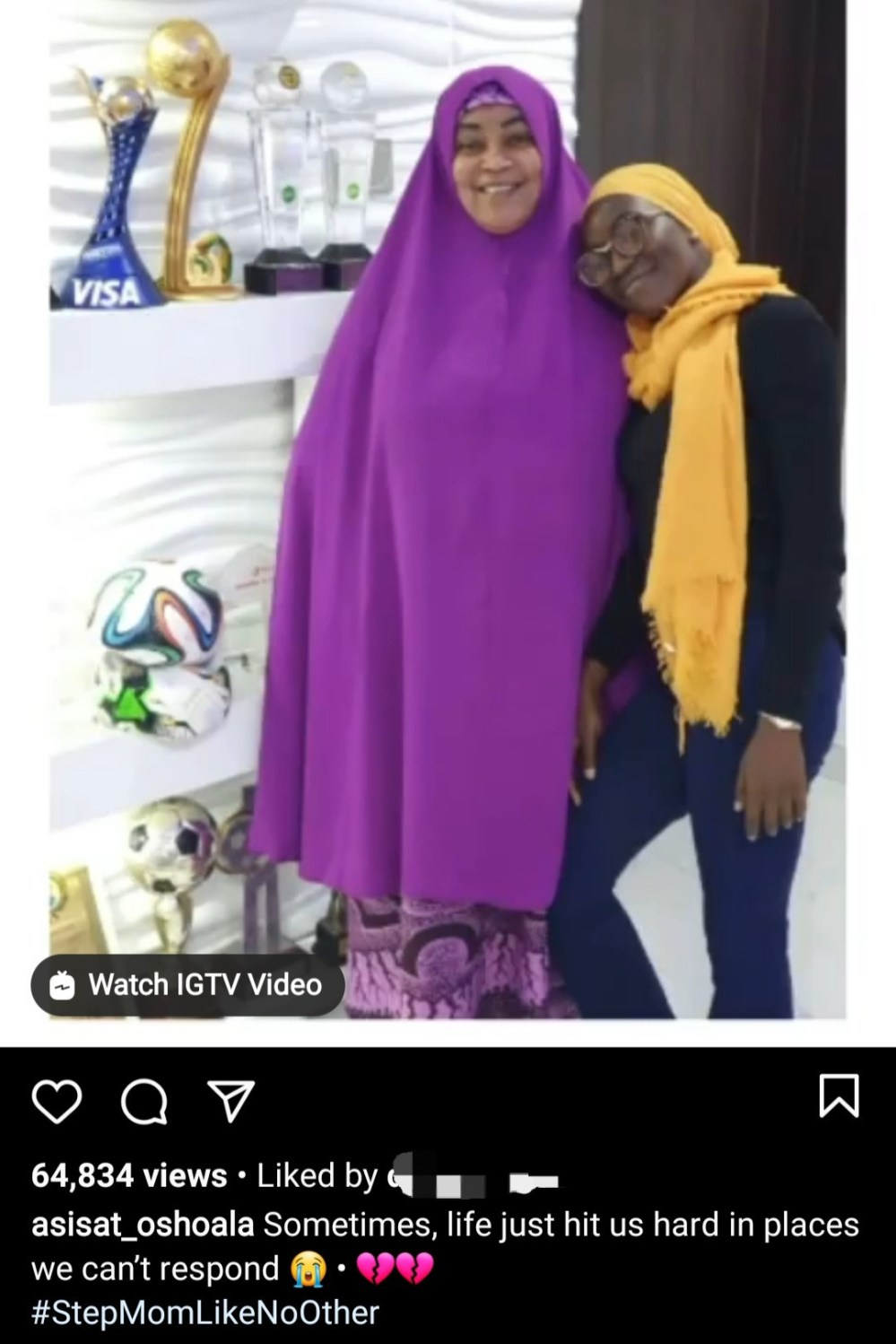 Asisat Oshoala mourns as she loses her stepmom
