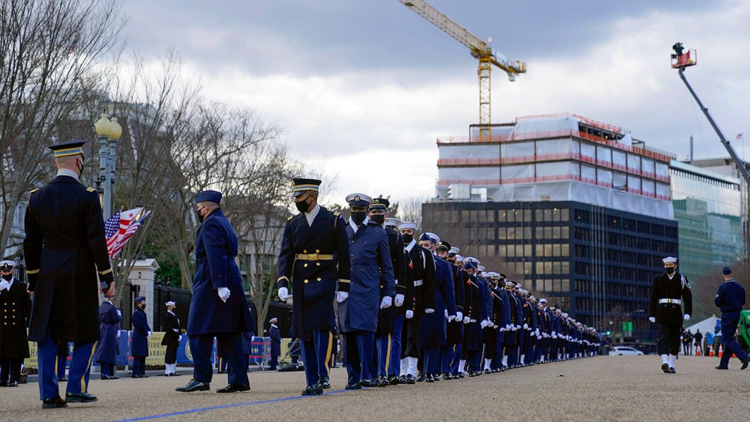 Military troops rehearse ahead of Joe Biden