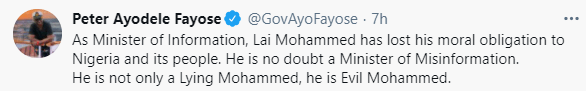 """""""At 69 years, it is a shame that he?vomits evil words through his septic-tank-like-mouth"""" - Fayose slams Lai Mohammed for saying security is better than it was in 2015"""