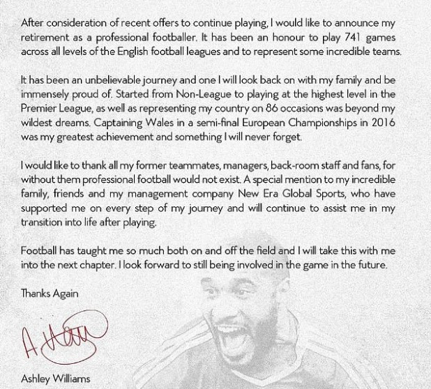 Wales captain, Ashley Williams announces retirement from professional football at 36