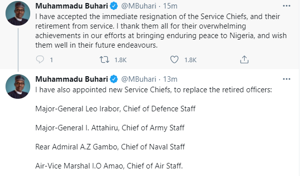 Breaking: President Buhari sacks Service chiefs, announces replacements