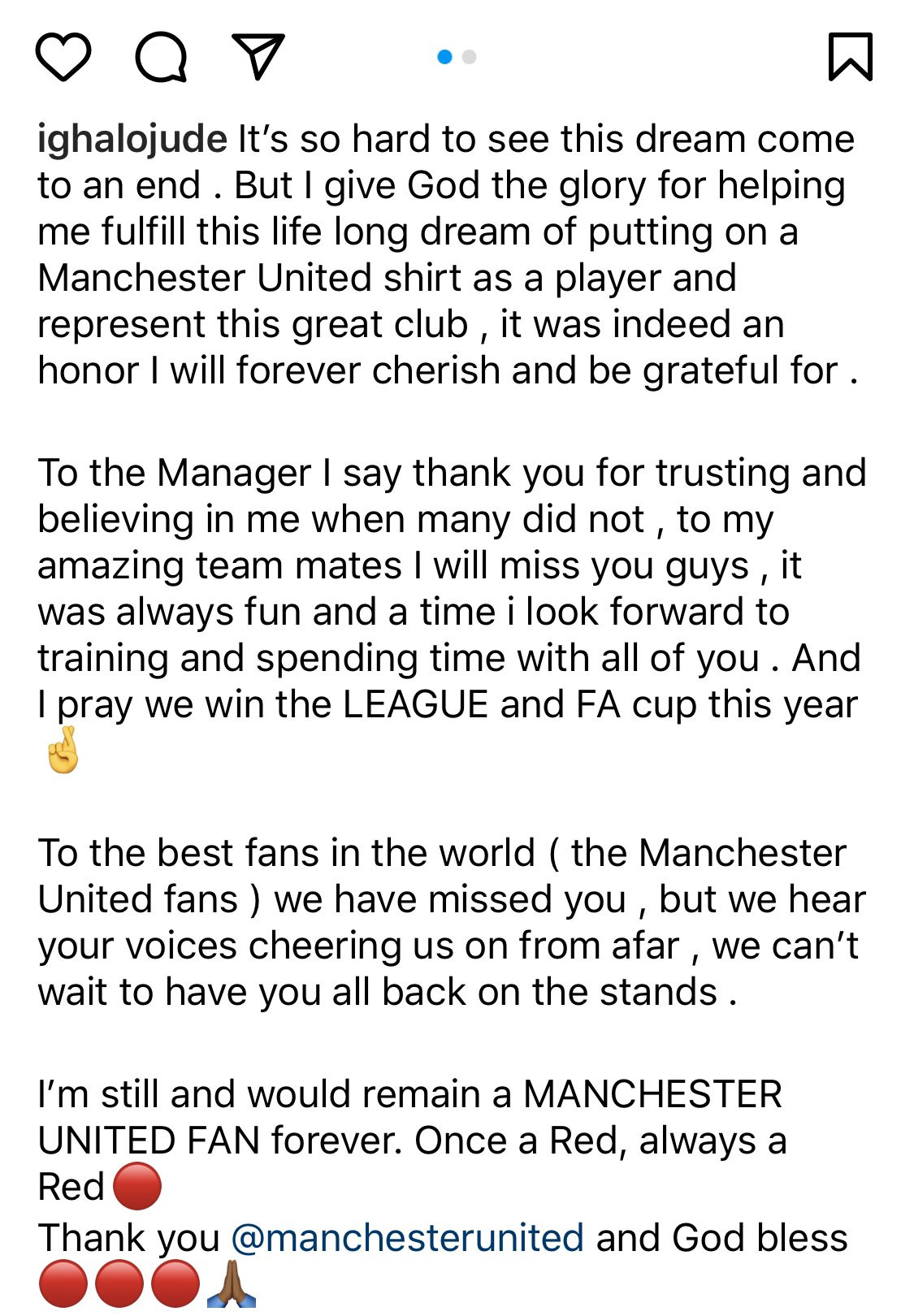 'It's so hard to see this dream come to an end' - Odion Ighalo says emotional farewell to Manchester United 1