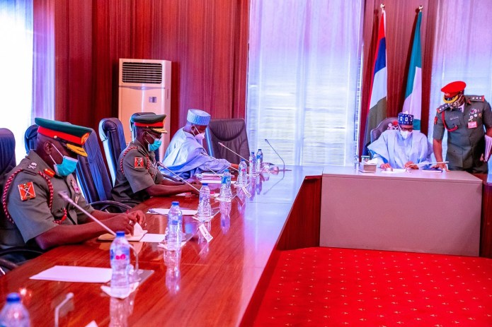 President Buhari meets newly appointed service chiefs (photos)