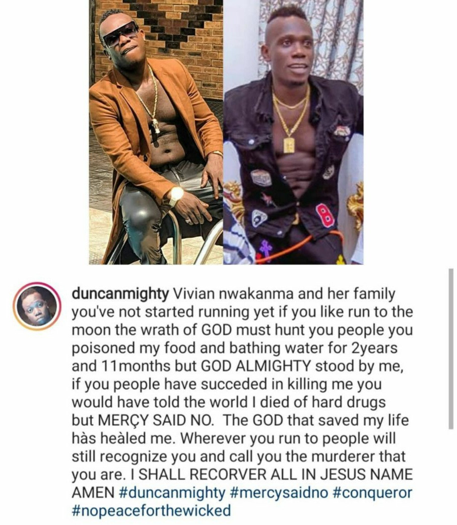 """You poisoned my food and bathing water for 2 years"" Duncan Mighty continues to call out his estranged wife Vivien Nwakama and her family"