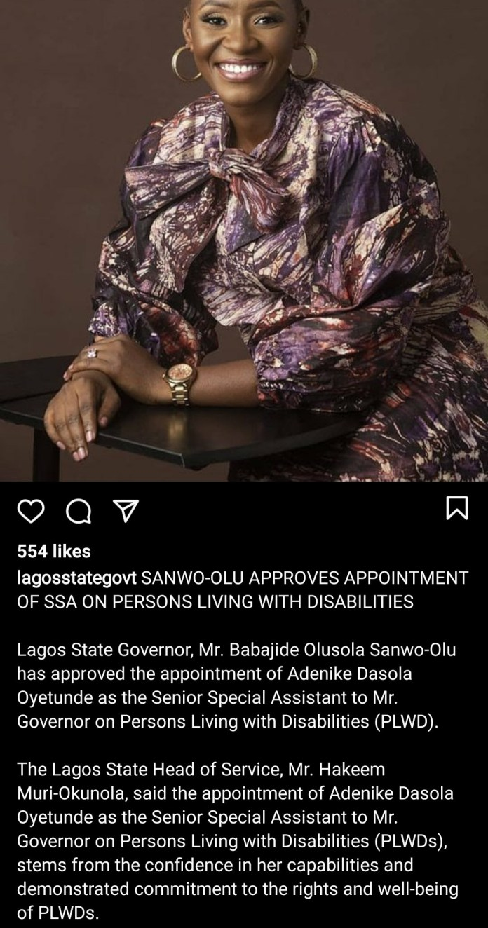 Lagos State Government appoints Adenike Oyetunde as Senior Special Assistant on Persons Living With Disability