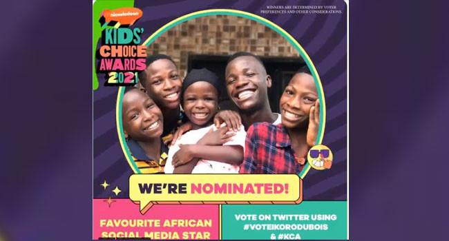 Ikorudu Bois nominated for Nickelodeon Kids? Choice Award