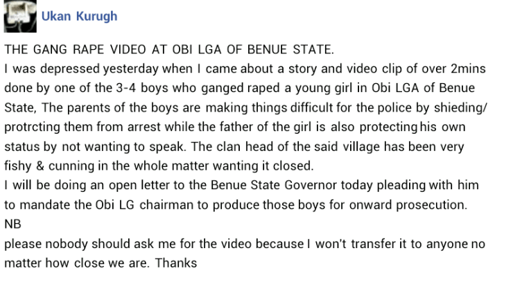 Young girl gang-raped in Benue by 4 boys who filmed the crime