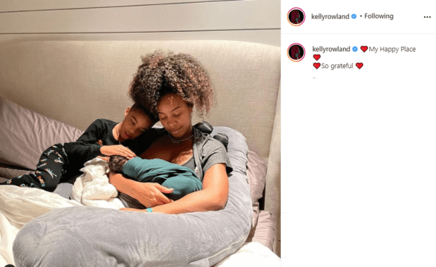 New mom, Kelly Rowland shares adorable family photo with her sons days after giving birth to second child