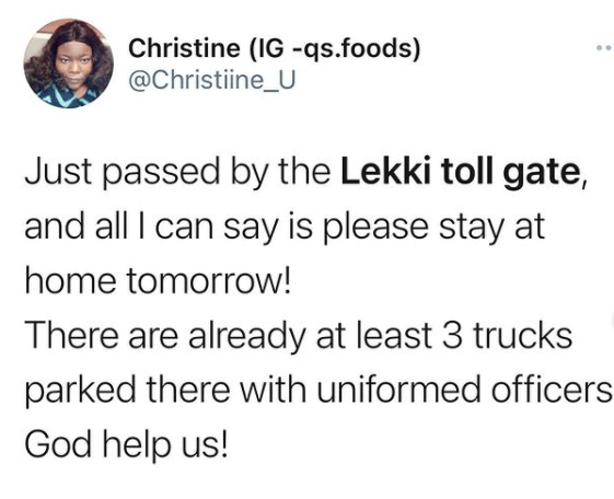 Twitter users raise an alarm of armed security operatives at Lekki Toll Gate