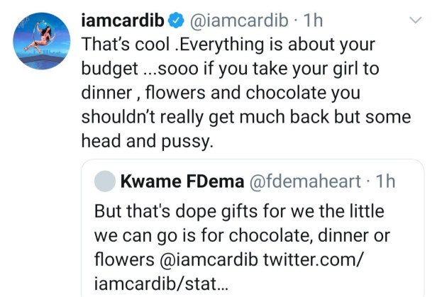 Cardi B responds to those calling her out for buying her man a Lamborghini while advising women to give their men grass if they get only flowers