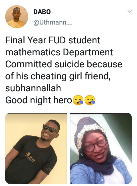 Final yearJigawa varsity student reportedly commits suicide after his girlfriend allegedly cheated on him
