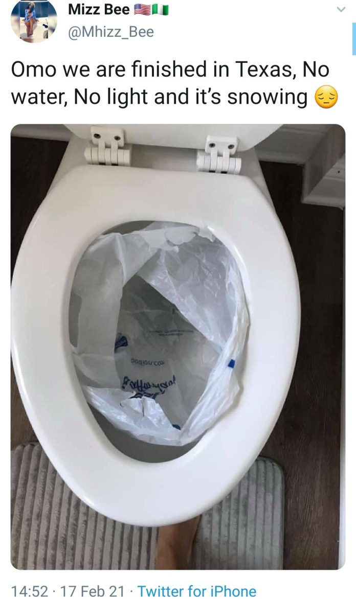 People in Texas now forced to poop in nylon bags as power outage occasioned by a winter storm extends