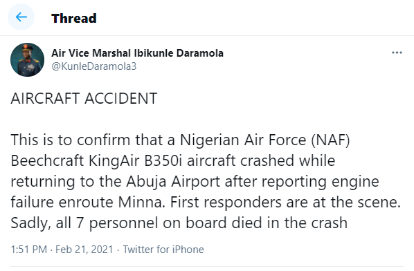 Update: Nigerian Air Force confirms death of 7 personnel in military plane crash in Abuja