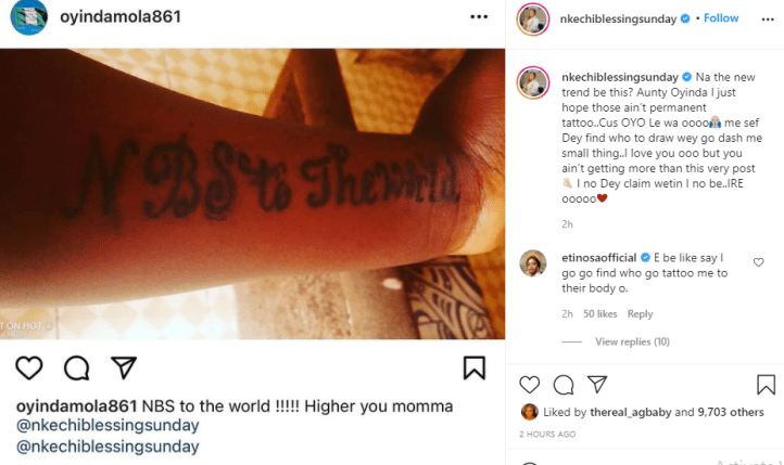 You are on your own - Actress Nkechi Blessing Sunday tells fan who tattooed her name on her hand