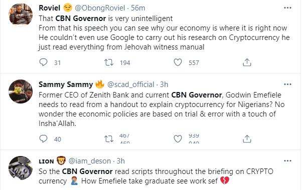 Nigerians react to CBN Governor, Godwin Emefiele