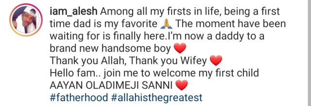 Nollywood actor, Alesh Sanni, welcomes first child