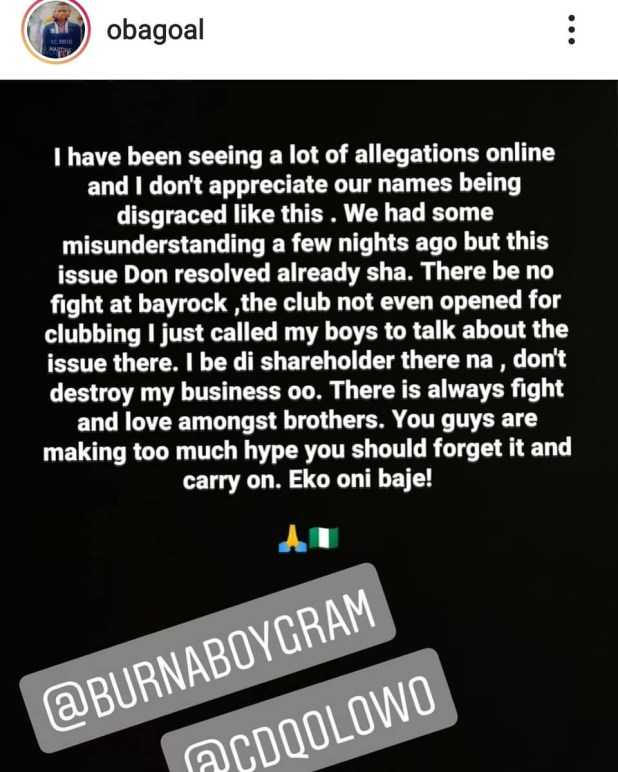 Obafemi Martins speaks on beef with Burna Boy which was reported by CDQ