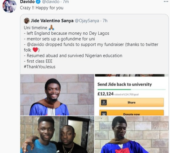 Man who dropped out of school in England due to lack of funds thanks Davido for partly funding his education after he returned to Nigeria