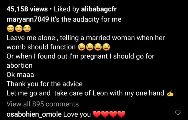 Married woman replies after follower called her out for getting pregnant before her first child turns 2