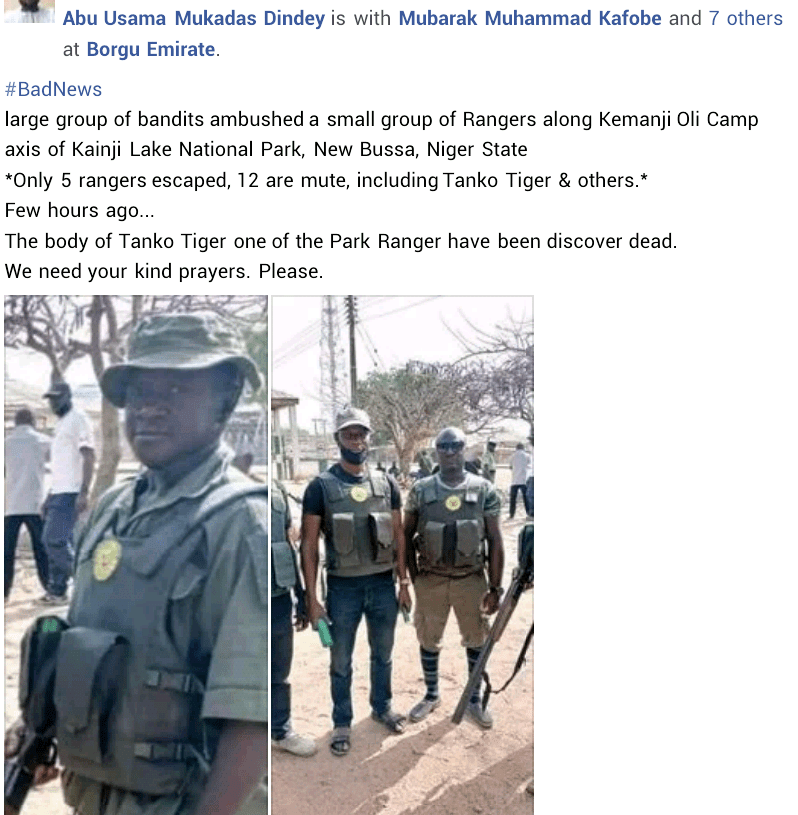 One killed, eleven missing as armed bandits ambush park rangers in Niger state