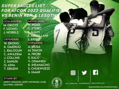 AFCON 2022: NFF releases Super Eagles squad list for Benin and Lesotho AFCON qualifying games