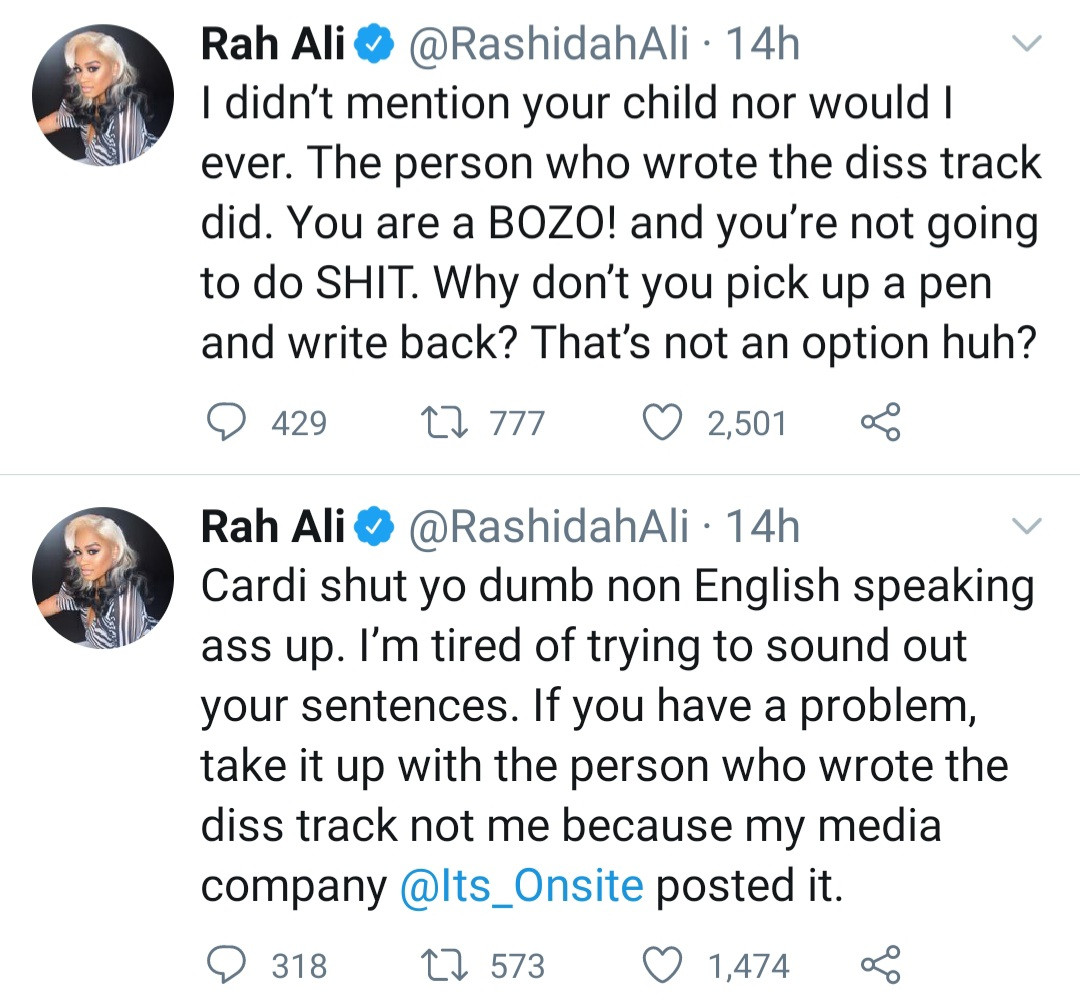 Cardi B and her sister slam Rah Ali after she allowed a fan rap about Cardi B