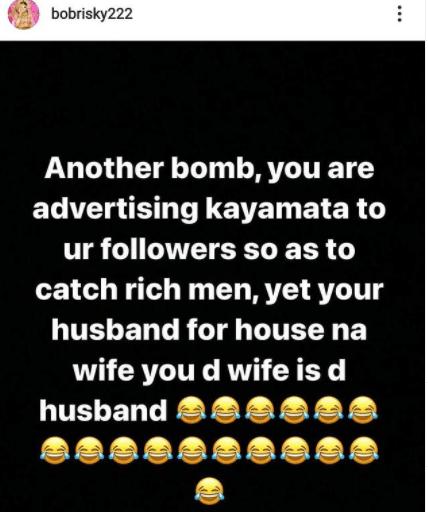 Shots fired! Bobrisky shades a certain Kayanmata seller on IG