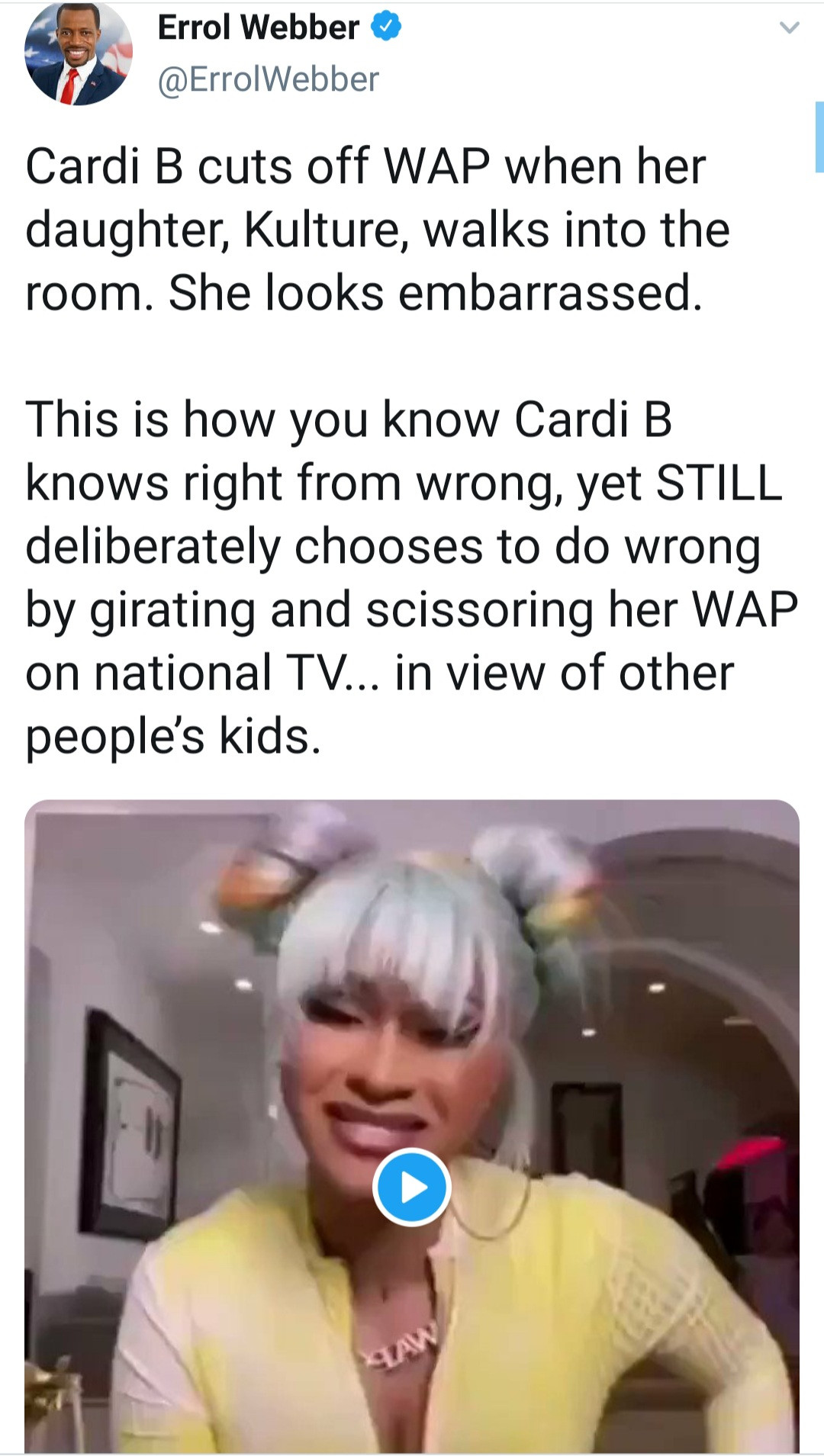 Cardi B reacts after being called out for defending her Grammy performance yet won