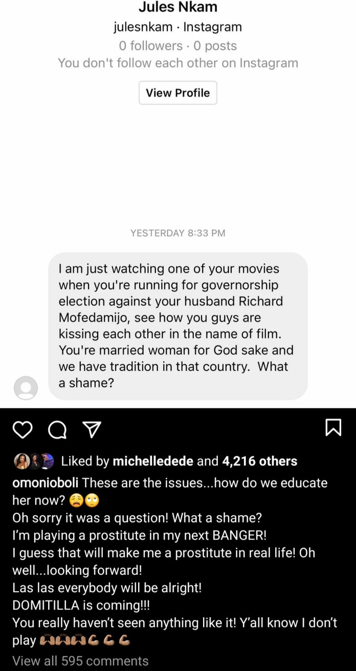 Omoni Oboli responds as a follower calls her out for kissing RMD on TV despite being a married woman